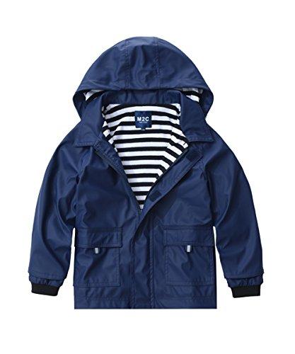 - M2C Boys & Girls Hooded Waterproof Rain Jacket Cotton Lined Windbreaker 6/7 Navy