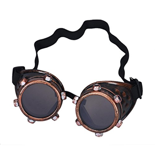 Cool Steampunk Costumes (FTXJ Retro Steampunk Goggles Welding Punk Glasses Cosplay (Red Copper))