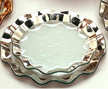 (Annieglass Ruffle Glass Salad Plate - Platinum Trim)