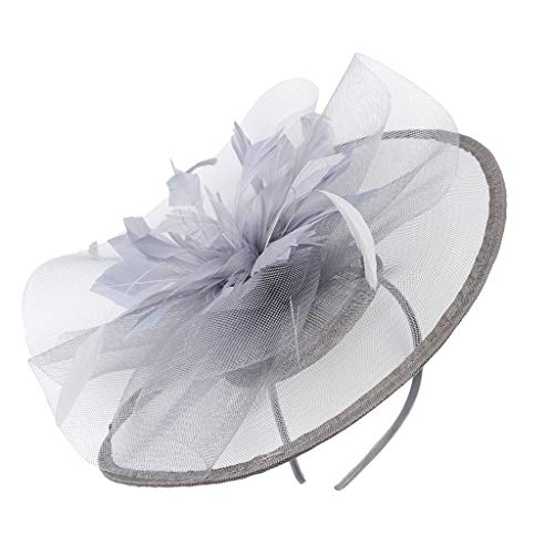 DAGE Retro Fascinate Hats Cocktail Tea Party Headwear for Girls and Women Feather Brooch Handband Braided