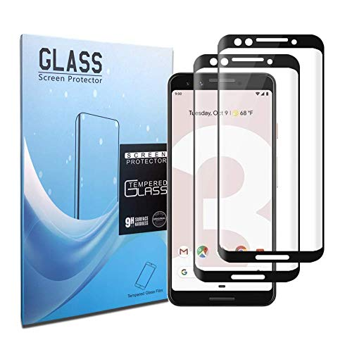 Google Pixel 3 Screen Protector,[9H Hardness][Ultra Clear][Anti Scratch][Bubble Free][2 Pack] HD Clear Tempered Glass Screen Protector Film for Google Pixel 3 Black