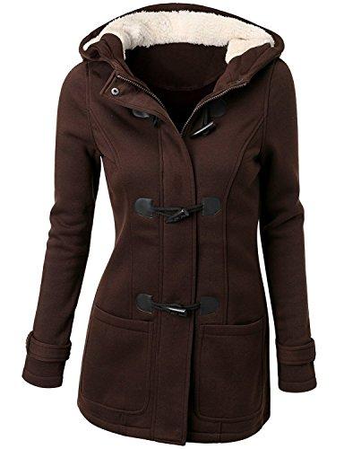 Women's Winter Casual Outdoor Warm Hooded Pea Coat Jacket size Medium (COFFEE) (Dark Brown Hooded Jacket)
