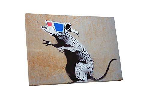 """Pingo World 1218PYGTK5G """"Banksy 3D Glasses Rat"""" Gallery Wrapped Canvas Print, 30"""" x 20"""", Variable"""
