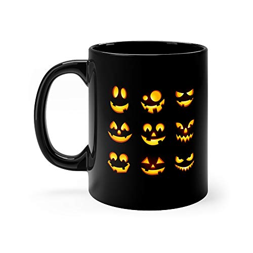 (Spooky Glowing Face Isolated On Dark Background Halloween Pumpkin Carving Faces Set Funny And Scary Eyes Mouth Emojis Tea Mugs Ceramic Cup 11)