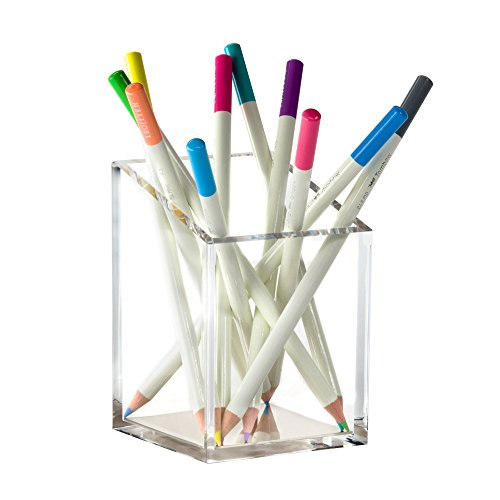 Acrylic & Silver Pencil and Pen Holder by OfficeGoods - A Classic Design to Brighten up Your Desk and Office by OfficeGoods (Image #1)'