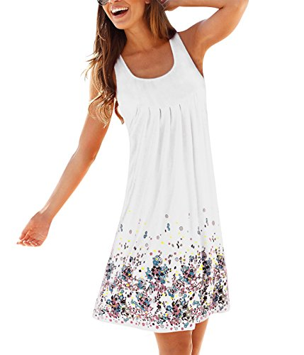 Gadewake Womens Casual Loose Floral Mini Print Pleated Sleeveless Sundress A Line Beach Dress