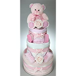 Luxury Baby Girl Three Tier Nappy Cake with Cute Teddy New Born Baby Shower Gift