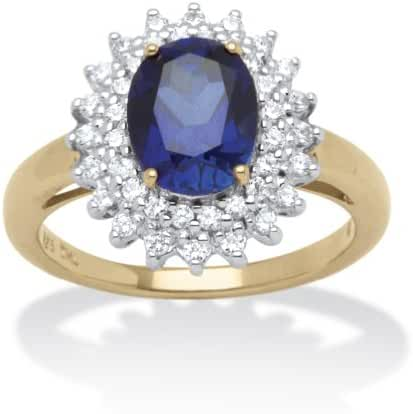 18K Gold over Sterling Silver Oval Cut Lab Created Blue Sapphire and Cubic Zirconia Halo Ring