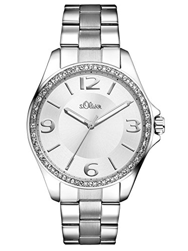 s. Oliver Women's Quartz Watch with Black Dial Analogue Display Quartz (One Size, Silver)