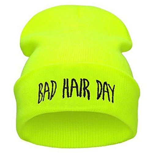 ZOMOY Unisex Skull Beanie Toboggan Knit Hat/Cap Plain Warm Chunky Slouchy Slogan Beanie Hat(Neon Yellow)
