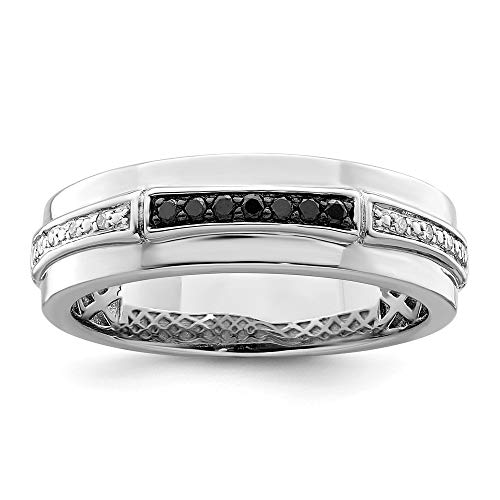 925 Sterling Silver Rhod Plated White Black Diamond Mens Band Ring Size 9.00 Man Fine Jewelry For Dad Mens Gifts For Him