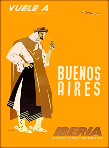 A SLICE IN TIME Vuele A Buenos Aires Argentina South America Iberia Airlines Vintage Travel advertisement Art Poster Print. Measures 10 x 13.5 inches