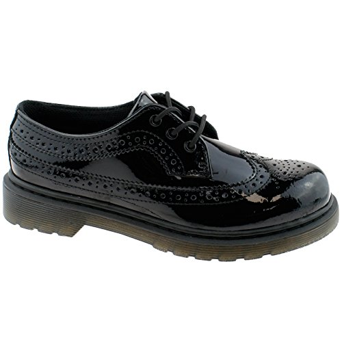 Dr. Martens 3989 Y Black Patent Youth Brogue Shoes Black