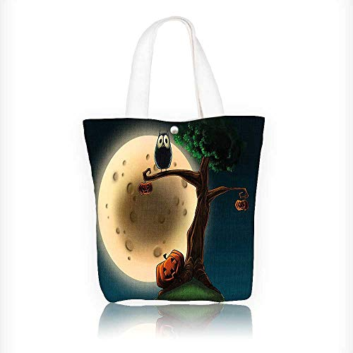 Stylish Canvas Zippered Tote Bag Spooky Halloween Tree with Eyed and Pumpkin Shopping Travel Tote Bag W11xH11xD3 INCH -