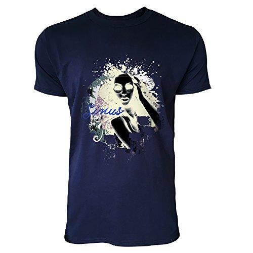 SINUS ART® Collage mit Frau mit Sonnenbrille Herren T-Shirts in Navy Blau Fun Shirt mit tollen Aufdruck