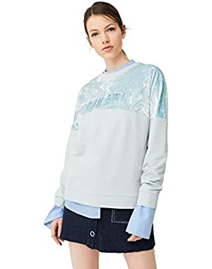 Mango Women's Velvet Panel Sweatshirt