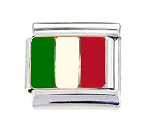 Stylysh Charms ITALY ITALIAN FLAG Enamel Italian 9mm Link PE019 - Flag Enamel Italian Charm