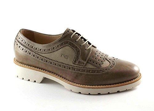 NEGRO JARDINES 17193 topo zapatos de cuero beige Brogues Inglés Fringe Beige