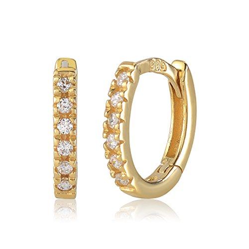 UNICORNJ Childrens 14k Yellow Gold Cubic Zirconia Hoop Huggie Earrings 11mm Diameter by Unicornj