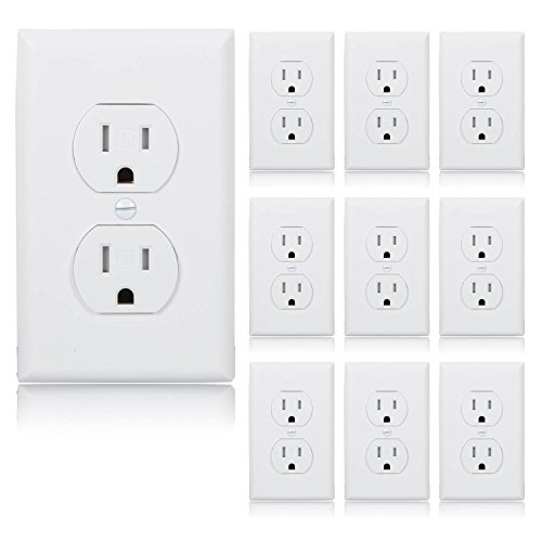White 15a Tamper - Maxxima Tamper Resistant Duplex Receptacle Standard Electrical Wall Outlet 15A White, Wall Plates Included (Pack of 10)