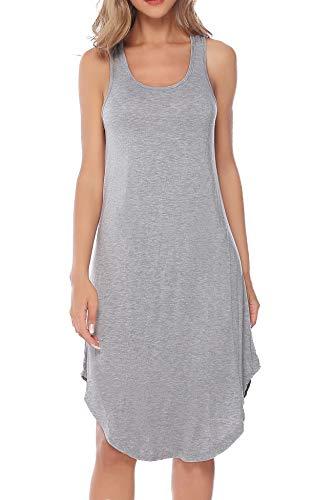 Aiboria Women's Sleeveless Cotton Nightgown Soft Nightshirt Sleepwear Racerback Sleep Dress Gray