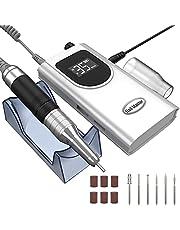 Kredioo Nail Drill Machine for Acrylic Nails, 35000RPM Professional Portable Electric Nail Drill File, E-file Nail Drill Set for Salon Home Use-White