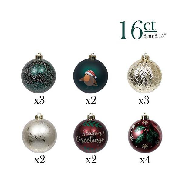 Valery Madelyn Palle di Natale 16 Pezzi 8 cm Palline di Natale, Strada di Campagna Rosso Verde e Oro Infrangibile Ornamenti Palla di Natale Decorazione per Albero di Natale Decor 3 spesavip