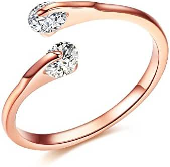 Bella Lotus Double Round CZ Crystal Tension 18k Rose Gold or Platinum Plated Girls Women Eternity Ring