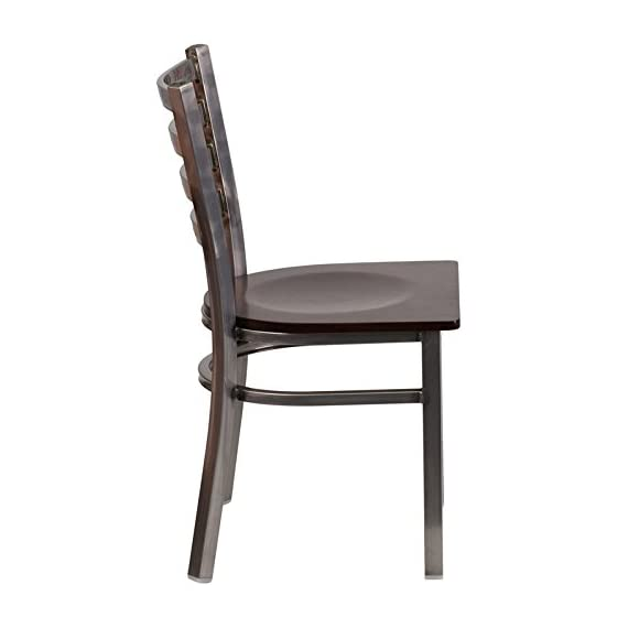 Flash Furniture HERCULES Series Clear Coated Ladder Back Metal Restaurant Chair - Walnut Wood Seat - Metal Dining Chair 500 lb. Weight Capacity Ladder Back Design - kitchen-dining-room-furniture, kitchen-dining-room, kitchen-dining-room-chairs - 41zMmji%2Bw L. SS570  -