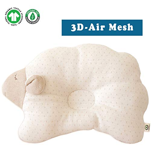 Organic Cotton Baby Protective Pillow (Cloud Lamb - Dot (3D Air Mesh))