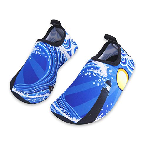Kids Water Swim Shoes Barefoot Aqua Socks Shoes Quick Dry Non-Slip Baby Boys & Girls (Wave, 22/23) by WateLves
