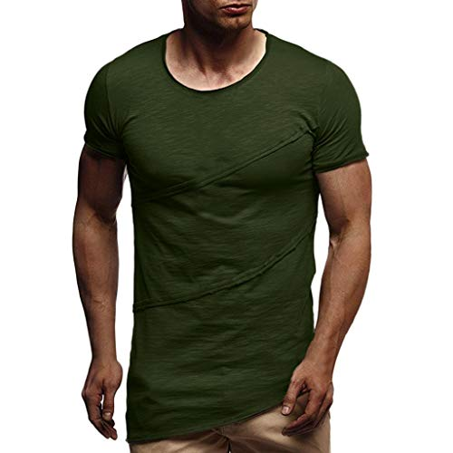 Pengy Mens Top Muscle Summer Patchwork Solid T-Shirt Man Short Sleeve O-Neck Tee Army Green -