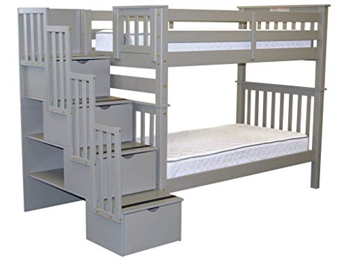Bedz King Tall Bunk Beds Twin Over Twin with Stairs and 4 Drawers in The Steps, Gray