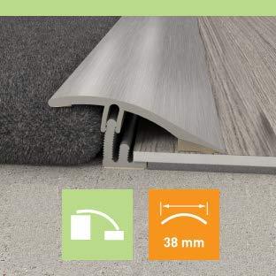 Carpet to LVT/Vinyl/Tile/Wood/Laminate Flooring Transition Door Strip Bar – Joins A Gap – Angle Vinyl Door Flooring…