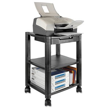 Kantek - Mobile Printer Stand, Three-Shelf, 17w x 13-1/4d x 24-1/4h - Black - 3 Shelf Office Printer Stand