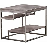 1PerfectChoice Dark Grey Chrome Frame 2 Shelf End Table