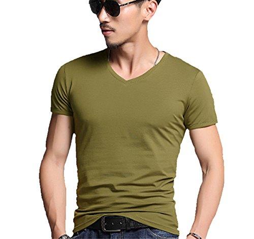 AKENA Men's Stretch Slim Fit Muscle V-Neck T-Shirts Crew Neck Soft Short Sleeves Athletic Muscle Shirt Casual Basic Shirts Stretch Muscle T-shirt