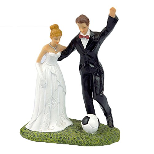 Happy Cherry Bride and Groom Soccer Fan Cake Topper by Happy Cherry