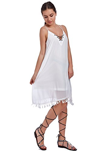 Q2 Femme Robe mi-longue blanc à col V et détail chaîne