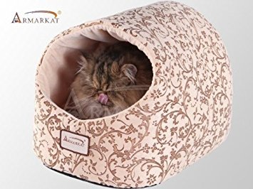 - Armarkat Cat Bed with Flower Pattern, Beige