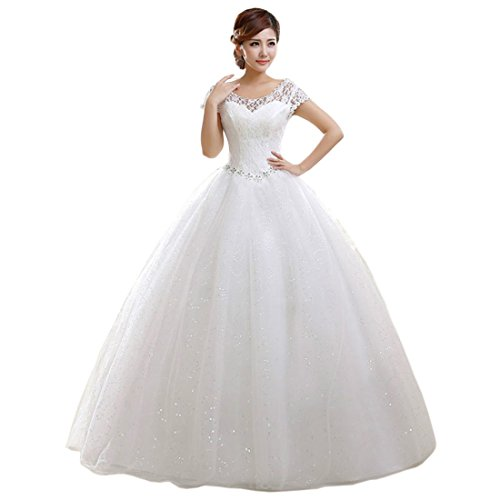 [Partiss Women's Short Sleeve Lace Wedding Dress, XL, White] (Cheap Plus Size Fancy Dress)