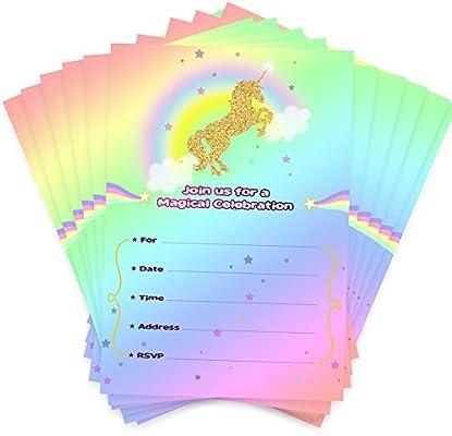 Aytai 20pcs Invitaciones de cumpleaños de Rainbow Unicorn ...