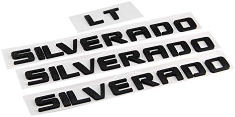 Matte Black Guzetop 3D Letter Nameplate Emblem Badge fit for Silverado LT 1500 2500Hd