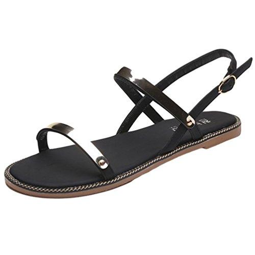 Sentao Mujer Casual Verano Punta Abierta Sandalias De Playa Cómodos de las Zapatos Planas Negro