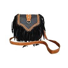 FakeFace Womens Hippie Suede Retro Vintage Tribal Fringe Tassel PU Leather Shoulder Bag Messenger Crossbody Handbag