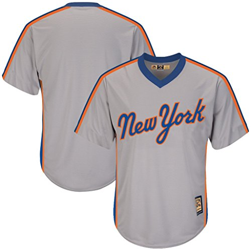 VF New York Mets MLB Mens Majestic Cool Base Cooperstown V Neck Jersey Gray Big & Tall Sizes (4XT)