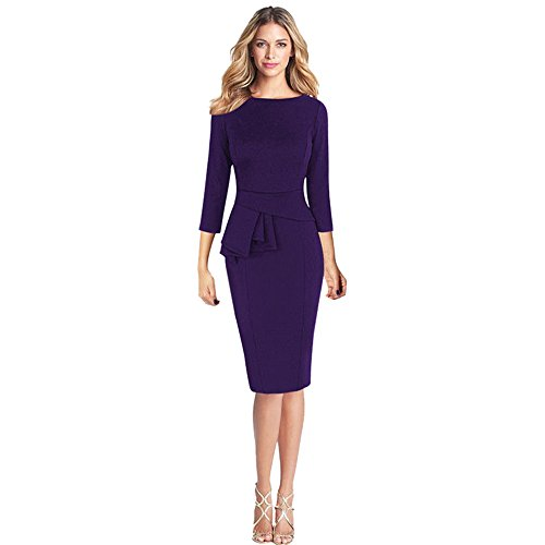 (iYBUIA Women O-Neck Elegant Frill Peplum 3/4 Gown Sleeve Work Business Party Sheath Dress)
