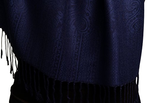 Midnight Blue Paisleys Pashmina Feel With Tassels - Bleu ?charpe Taille Unique - 70cm x 180cm