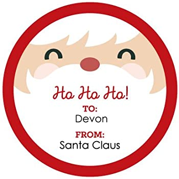 Custom jolly santa claus face personalized small circle christmas gift sticker tags to