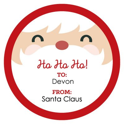 (Custom Jolly Santa Claus Face - Personalized Small Circle Christmas Gift Sticker Tags - To: Name From: Santa Claus Christmas Stickers - Set of 24)